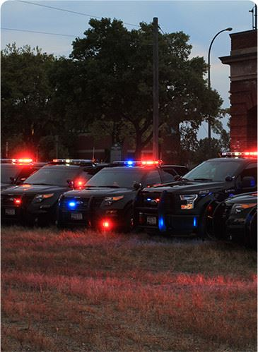 Police Cars With Lights On