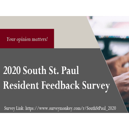 Image informing of resident survey with link to survey and image of hands working on computer