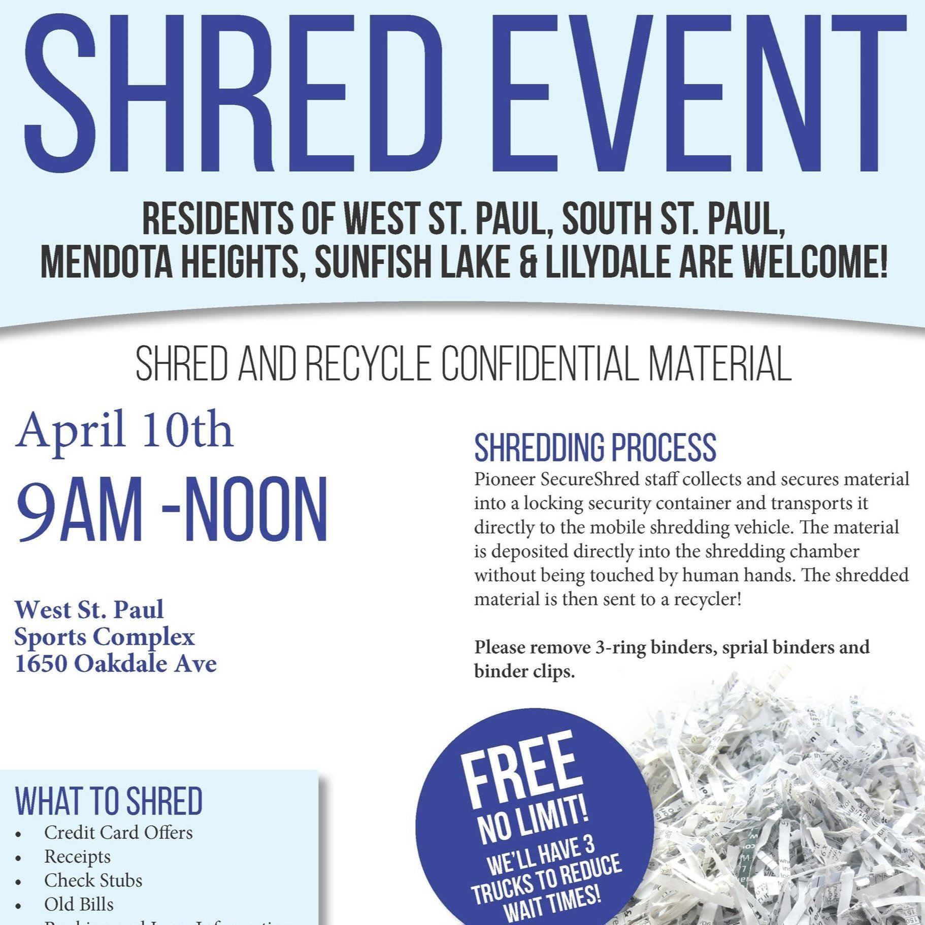 Image of the Shred Event Flyer scheduled for April 10, 2021