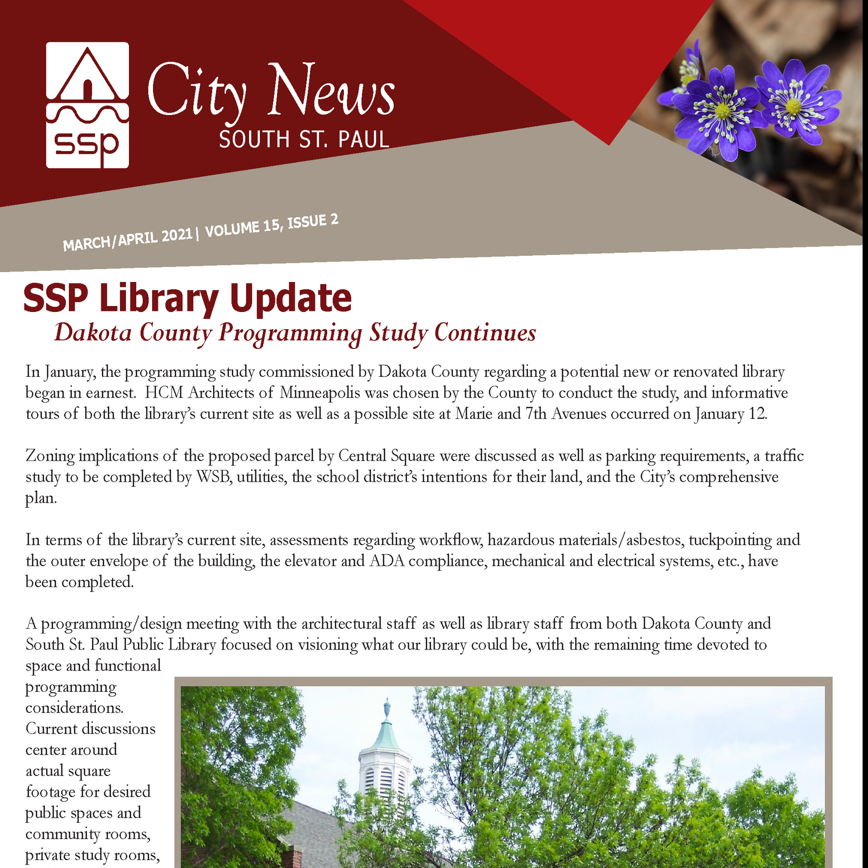 Image of the front cover of the SSP City News for March/April 2021