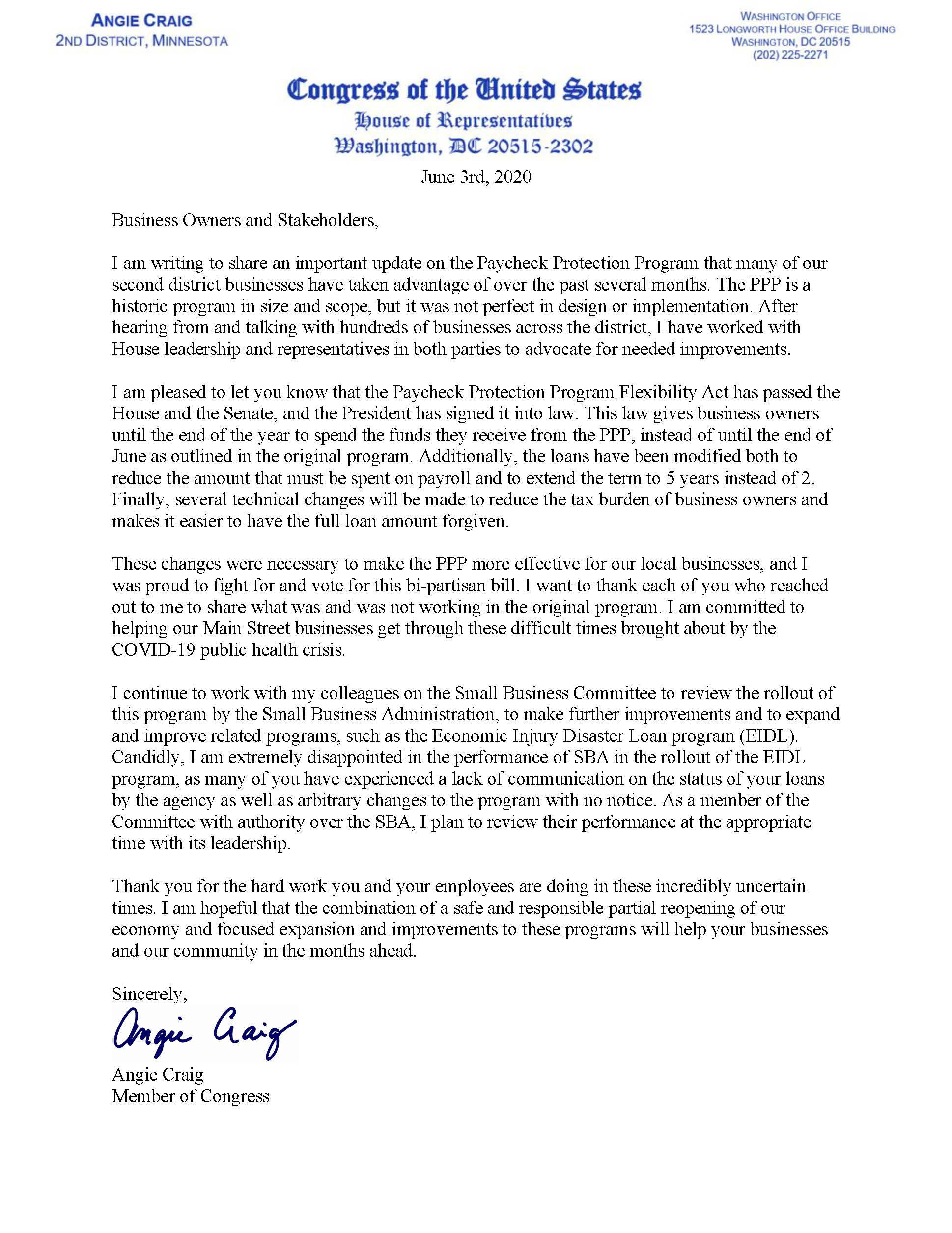 Image of Letter from Congresswoman Craig on Paycheck Protection Program Act